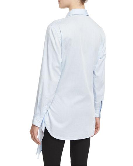 Long-Sleeve Poplin Apron Top, Light Blue
