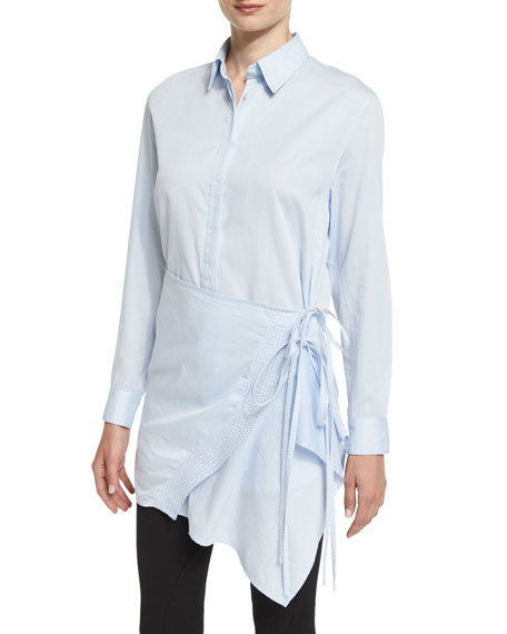 3.1 Phillip Lim Long-Sleeve Poplin Apron Top, Light