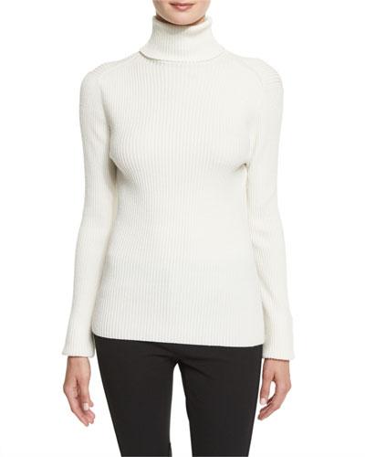 Long-Sleeve Ribbed Turtleneck Sweater, Antique White