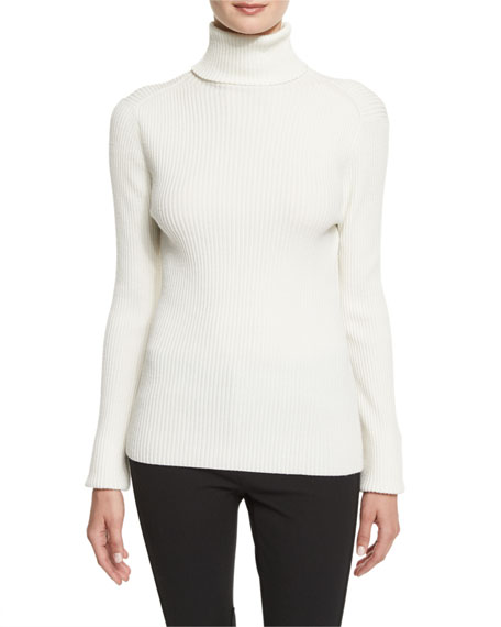 3.1 Phillip Lim Long-Sleeve Ribbed Turtleneck Sweater, Antique