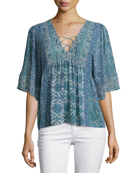 Scorpio Lace-Up Printed Top