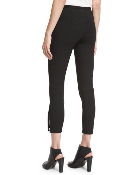Jodhpur Ankle-Zip Leggings, Black