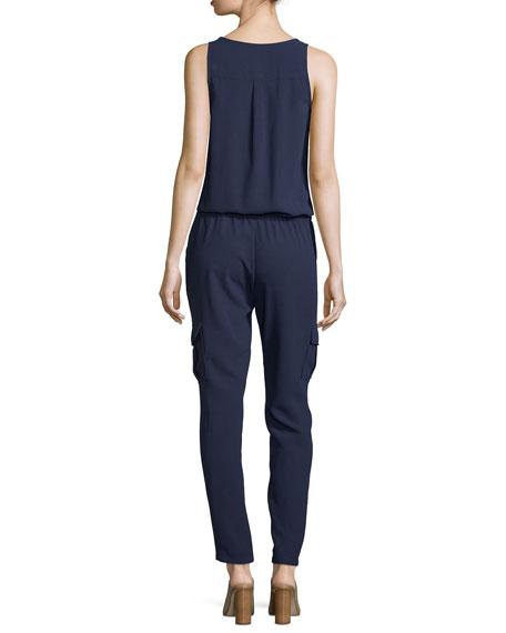 Vernay Crepe Sleeveless Jumpsuit, Dark Navy