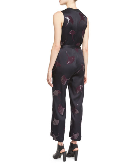 Sleeveless Gingko-Embellished Jumpsuit, Midnight