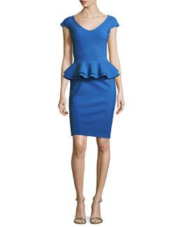 Kiarna Cap-Sleeve Peplum Cocktail Dress, Cobalt