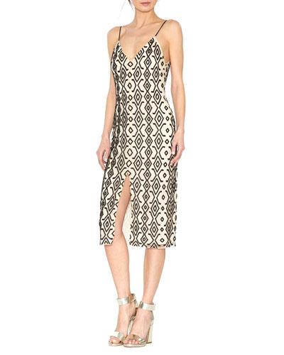 Arlette Sleeveless Beaded Midi Dress, Black/White