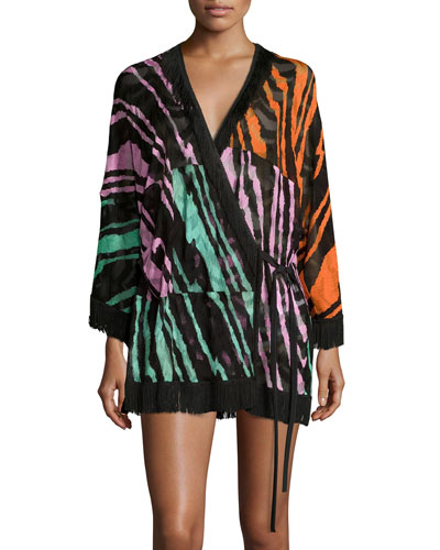 Multicolor Fringe-Trim Wrap-Front Coverup Tunic, Blocchi Patch