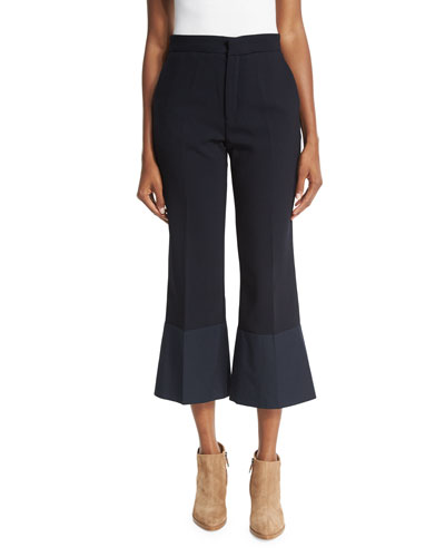 Cropped Flare Crepe Trousers, Navy