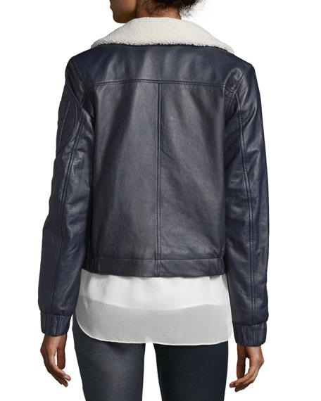 Leather Bomber Zip-Front Jacket, Navy
