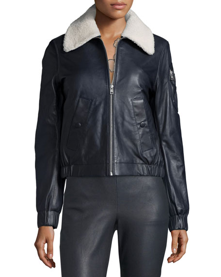 Leather Bomber Zip-Front Jacket, Navy