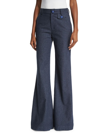 Chambray Flare Trousers, Indigo
