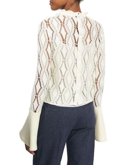 Bell-Sleeve Crochet Top, Winter White