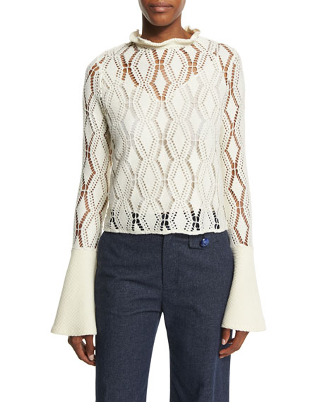 Bell-Sleeve Crochet Top, Winter White