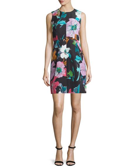 Coco Paper Floral-Print Dress, Black