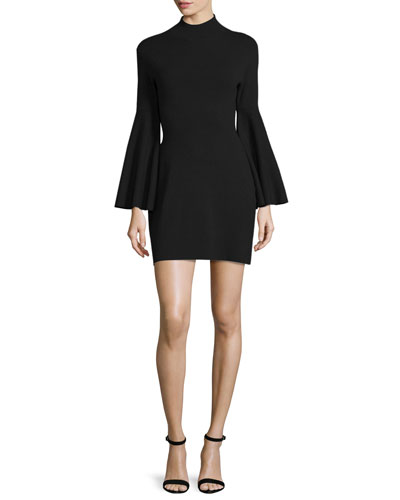 Swing-Sleeve Mock-Neck Sheath Dress, Black