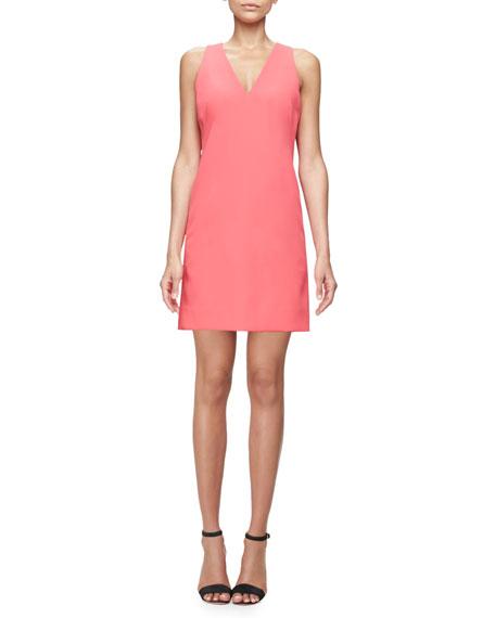 Sleeveless Modern V-Neck Sheath Dress, Rose