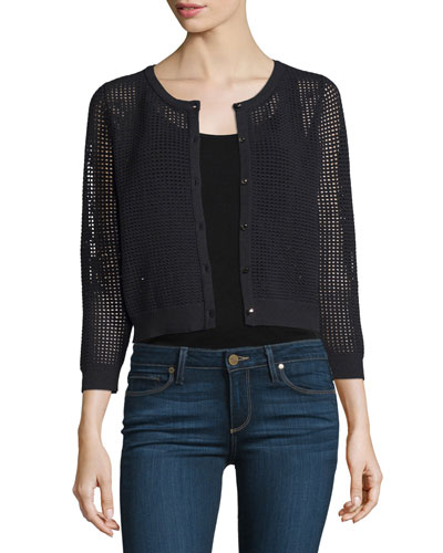 3/4-Sleeve Button-Front Mesh Cardigan, Black