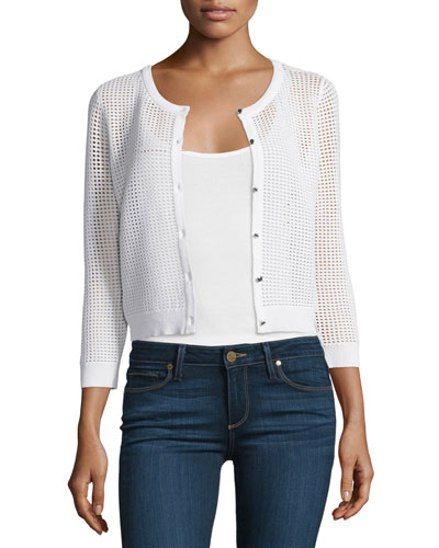 3/4-Sleeve Button-Front Mesh Cardigan, White