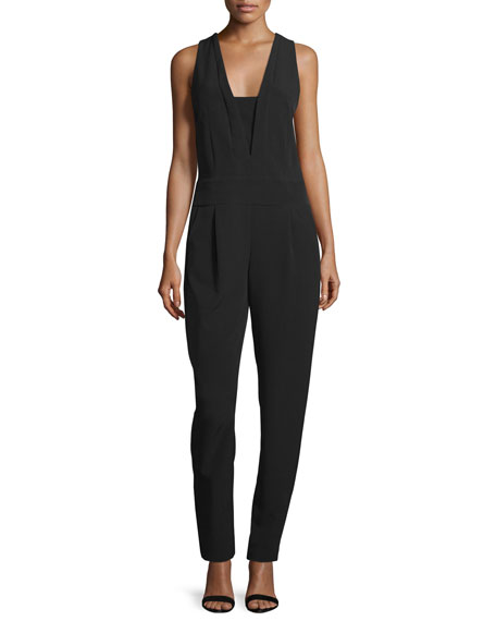 Sleeveless V-Neck Pleated-Front Jumpsuit, Black