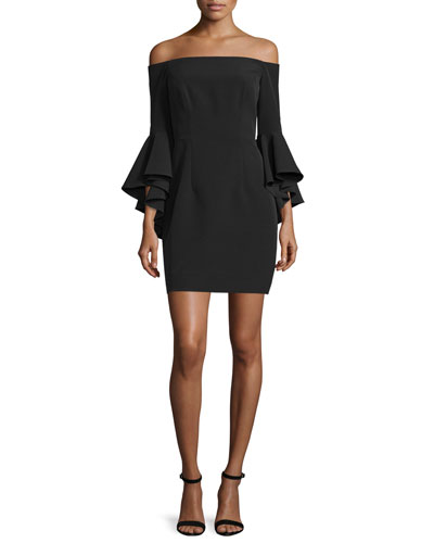 Selena Short Italian Cady Dress W/Cascade Sleeves, Black