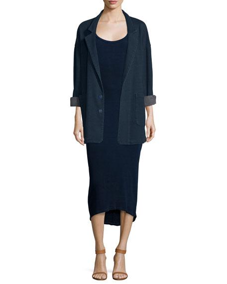 Elli Short-Sleeve Fitted Midi Dress, Indigo Knit Five