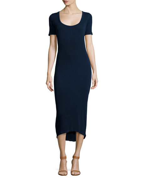 Elli Short-Sleeve Fitted Midi Dress, Indigo Knit Five
