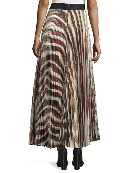 Maura Metallic Sunburst Plisse Skirt