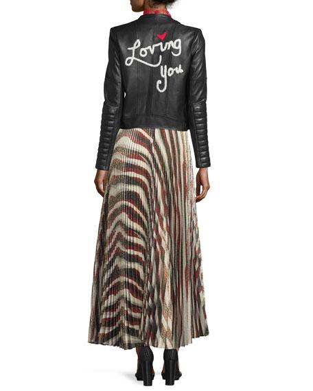 Maura Metallic Sunburst Plisse Skirt