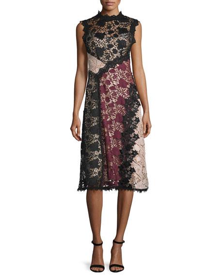 Sleeveless Colorblock Lace Midi Dress, Black/Multicolor