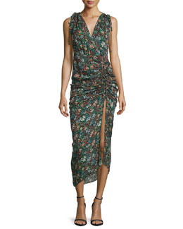 Teagan Fall Garden Printed Silk Midi Dress, Black/Multicolor