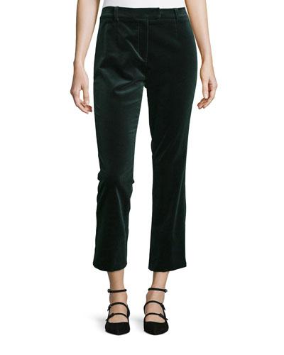 Velvet Cropped Pants, Spruce