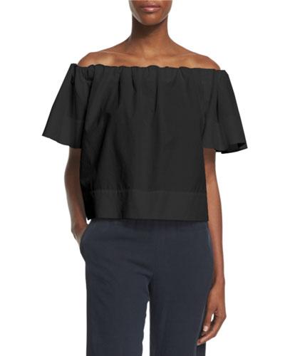Off-The-Shoulder Cropped Top, Black
