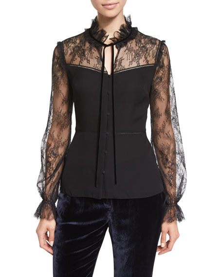 Cecille Long-Sleeve Tie-Neck Silk Blouse, Black