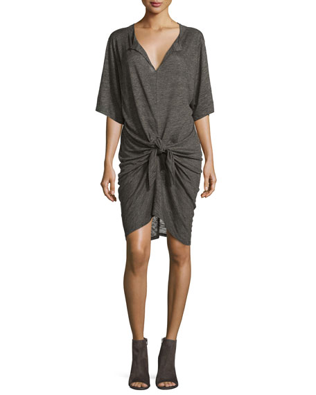 Arwen Tie-Front Linen Dress, Dark Gray