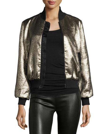 Allura Metallic Bomber Jacket, Black/Gold