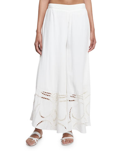 Peggy Wide-Leg Embroidered Coverup Pants, White