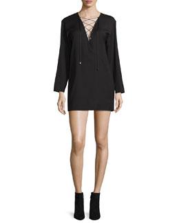 Anice Lace-Front Wool-Blend Mini Dress, Black