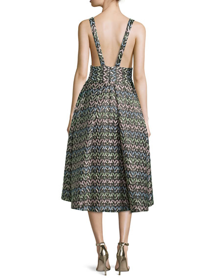 Sleeveless Chevron Brocade Midi Dress, Multicolor