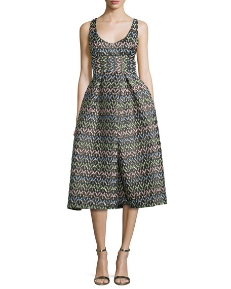 Milly Sleeveless Chevron Brocade Midi Dress, Multicolor