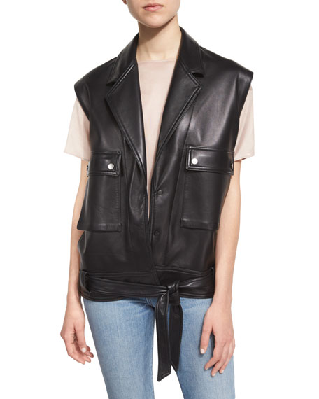 Oversized Leather Snap-Front Vest, Black