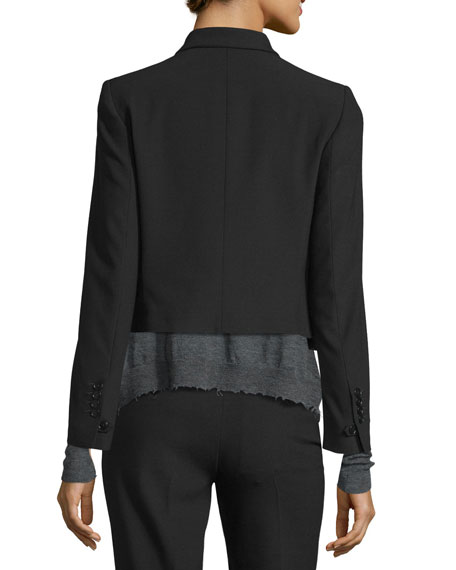 Cropped Shrunken Crepe Jacket, Black