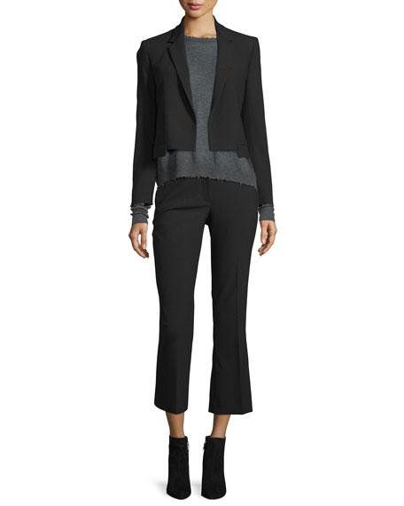 Cropped Flare Wool-Blend Pants, Black