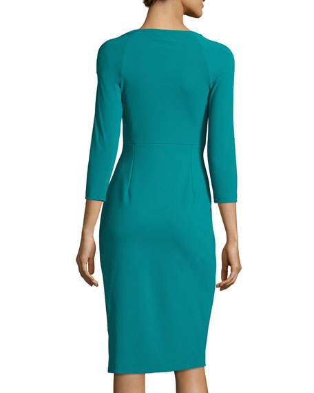 3/4-Sleeve Ruched Cocktail Dress