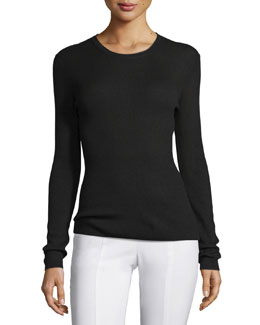 Long-Sleeve Cashmere Top, Black