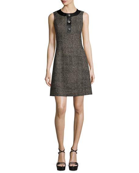 Sleeveless Button-Front A-Line Dress, Hemp/Black