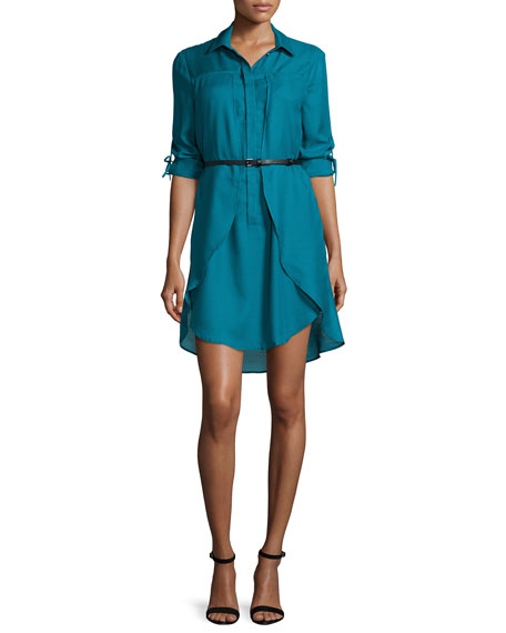 Long-Sleeve Belted Shirtdress, Atlantic