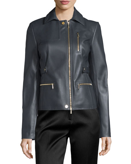 Zip-Pocket Lamb Leather Field Jacket, Charcoal