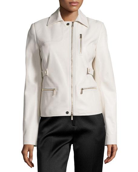 Zip-Pocket Lamb Leather Field Jacket, Plaster