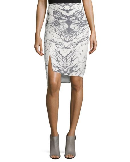 Front-Slit Pencil Skirt, Swan/Black