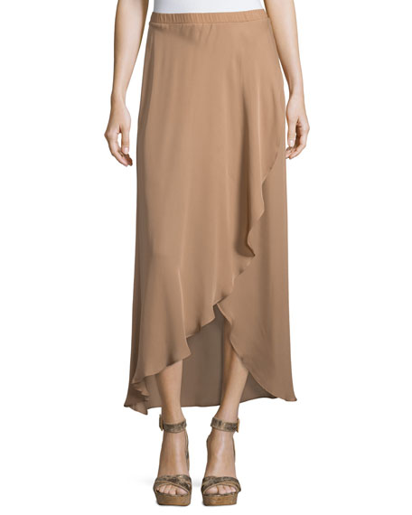 Asymmetric Ruffle Skirt with Shorts, Suntan